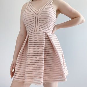 structured baby pink skater fit and flare dress